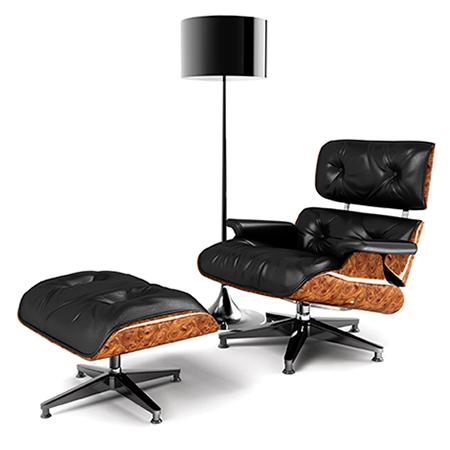 Leder Sessel mit Hocker und Lampe