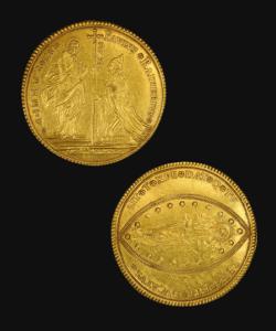 Vor- und Rückseite einer Goldmünze