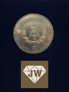 Münze 1969 fünf DDR Mark