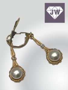 Perlen Ohrringe Gold und Silber
