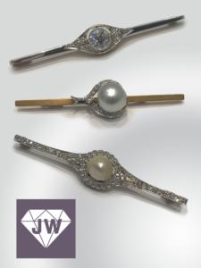 Anstecker mit Perlen und Edelsteinen