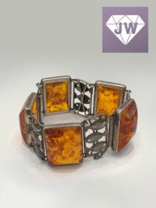 Silber-Bernstein Armband